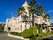 09 SEPTEMBER 2014 - BANGKOK, THAILAND:   Government House, the office of the Thai Prime Minister in Bangkok. Thai Prime Minister General Prayuth Chan-ocha named a cabinet that was dominated by members of the security forces to govern Thailand through at least a year of political reforms before elections are held. Prayuth and the cabinet met for the first time Tuesday. Before the meeting Prayuth said a prayer at a Buddhist shrine on the grounds of Government House, which is the Prime Minister's office. Prayuth seized power in a military coup in May. He was unanimously selected as Prime Minister by the National Legislative Assembly (NLA), the acting parliamentary body. Prayuth and his aides personally selected the members of the NLA after they seized power.     PHOTO BY JACK KURTZ