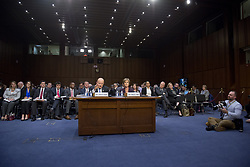 """May 8, 2017 - Washington, District of Columbia, United States of America - Former Director of National Intelligence of the United States James R. Clapper, left, and former Acting Attorney General of the US Sally Q. Yates, right, appear before the US Senate Committee on the Judiciary Subcommittee on Crime and Terrorism hearing titled """"Russian Interference in the 2016 United States Election"""" on Capitol Hill in Washington, DC on Monday, May 8, 2017..Credit: Ron Sachs / CNP. (Credit Image: © Ron Sachs/CNP via ZUMA Wire)"""
