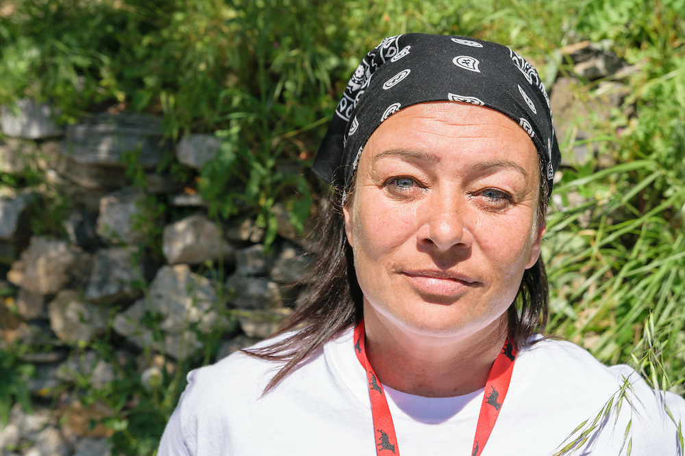 13 April 2016: Jenny Graham, from Ireland, volunteer worker on the island of Samos, Greece, helping refugees at the Samos hotspot, which is a closed camp for refugees following the agreement between ther European Union and Turkey in March 2016.