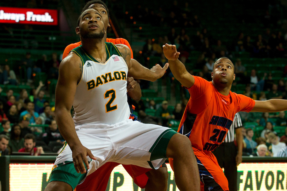 WACO, TX - JANUARY 3: Rico Gathers #2 of the Baylor Bears boxes out against the Savannah State Tigers on January 3, 2014 at the Ferrell Center in Waco, Texas.  (Photo by Cooper Neill) *** Local Caption *** Rico Gathers
