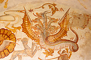 Image set of Casas Pintadas, Evora, Portugal unusual 16th-century murals paintings of creatures real and imagined, birds, hares, foxes, a basilisk, a mermaid and a harpy