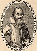 John Smith (1580-1631) English colonist and adventurer who sailed for Virginia in 1606. Based at Jamestown, he mapped Virginia.  Taken prisoner by the Native American chief Powhatan, according to legend his life was saved by Powhatan's daughter Pocahontas (c1595-1617). Portrait engraving from his map of Virginia (1612).