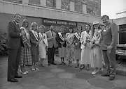 Roses of Tralee at Guinness Brewery..1986.20.08.1986..08.20.1986..20th August 1986..As part of the 50th running of the Rose Of Tralee Festival the thirty Rose contestants were invited to The Guinness Brewery,St James's Gate,Dublin. At the reception in their honour, Mr Pat Healy,Sales Director,Guinness Group Sales,welcomed the roses at the Guinness Reception Centre..Extra: Ms Noreen Cassidy,representing Leeds,went on to win the title of 'Rose Of Tralee'...Ireland contestants in the Rose Of Tralee Festival pose for pictures at the guinness reception. The Chairman of the Organising Committee,is in the centre of the group.