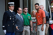 French President Hollande presents three Americans and a British grandfather who tackled Paris train terrorist with France's highest honour for bravery for preventing 'carnage'<br /> <br /> Three Americans and a British grandfather who prevented 'carnage' by tackling the French train terrorist have been awarded France's highest honour for bravery.<br /> U.S. Airman Spencer Stone, National Guardsman Alek Skarlatos, their friend Anthony Sadler and Briton Chris Norman were presented with the Legion d'Honneur at the Elysee Palace in Paris.<br /> French President Francois Hollande, who pinned on their medals, praised the men for taking action in the face of terrorism.<br /> The ceremony was held as the first heroic passenger who wrestled a machine gun from the terrorist was today revealed to be an American professor.<br /> <br /> Mark Moogalian, an academic at the University of Paris, was shot in the neck as he fought with Ayoub El-Khazzani on board the high-speed service from Amsterdam to Paris.<br /> The other four men then stepped in to overpower the attacker and tie him up.<br /> Speaking at the medal ceremony, Mr Hollande told Mr Stone and Mr Skarlatos that while they may have been soldiers on that day 'you were simply passengers. You behaved as soldiers but also as responsible men.'<br /> <br /> Photo shows: U.S. National Guardsman Alek Skarlatos and Anthony Sadler<br /> ©Exclusivepix Media
