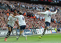 CELE - Preston North End's Jermaine Beckford celebrates scoring the opening goal <br /> <br /> Photographer Ian Cook/CameraSport<br /> <br /> Football - The Football League Sky Bet League One Play-Off Final - Preston North End v Swindon Town - Sunday 24th May 2015 - Wembley Stradium - London<br /> <br /> © CameraSport - 43 Linden Ave. Countesthorpe. Leicester. England. LE8 5PG - Tel: +44 (0) 116 277 4147 - admin@camerasport.com - www.camerasport.com