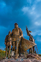 "The ""Cuarto Centenario"" sculpture, Albuquerque Museum, Albuquerque, New Mexico USA. Four hundred years ago, in April of 1598, Spanish explorer Juan de Oñate and 500 colonists from Mexico crossed the Rio Grande to claim the new land for the King of Spain."