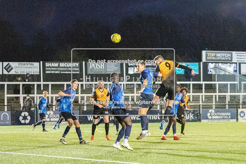 BROMLEY, UK - JANUARY 04: Joseph Taylor, of Cray Wanderers FC, heads the ball at goal during the BetVictor Isthmian Premier League match between Cray Wanderers and Wingate & Finchley at Hayes Lane on January 4, 2020 in Bromley, UK. <br /> (Photo: Jon Hilliger)