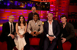 Host Graham Norton with (left to right) Martin Freeman, Rachel Weisz, Anthony Joshua, Greg Davies and Shawn Mendes during filming of the Graham Norton Show at the London Studios, to be aired on BBC One on Friday evening.