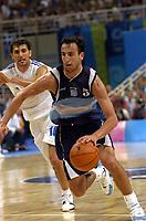 26/08/04 - ATHENS  - GREECE -  - BASKETBALL QUARTERFINAL MATCH   - Indoor Olympic Stadium - <br />ARGENTINA win (69) over GREECE (64) <br />Argentine celebration after win the match.<br />Here Arg. N*5 GINOBILI EMANUEL and Greece N*10 CHATZIVRETTAS Nikolaos<br />© Gabriel Piko / Argenpress.com / Piko-Press