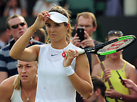 Tennis - 2017 Wimbledon Championships - Week One, Thursday [Day Four]<br /> <br /> Womens Doubles, Second Round match<br /> Jocelyn Rae and Laura Robson (GBR) v Raquel Atawo (USA) and Jelea Ostapenko (LAT)<br /> <br /> Laura Robson has to wait court side after Raquel Atawo was asked by the Wimbledon Ofiicials to leave the court and change her top which is not standard white on Court 5<br /> <br /> COLORSPORT/ANDREW COWIE