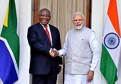 NEW DELHI, Jan. 25, 2019  Indian Prime Minister Narendra Modi (R) shakes hands with South African President Cyril Ramaphosa during their meeting in New Delhi, capital of India, on Jan. 25, 2019. Ramaphosa will be the chief guest on the occasion of India's 70th Republic Day on Saturday. (Credit Image: © Partha Sarkar/Xinhua via ZUMA Wire)