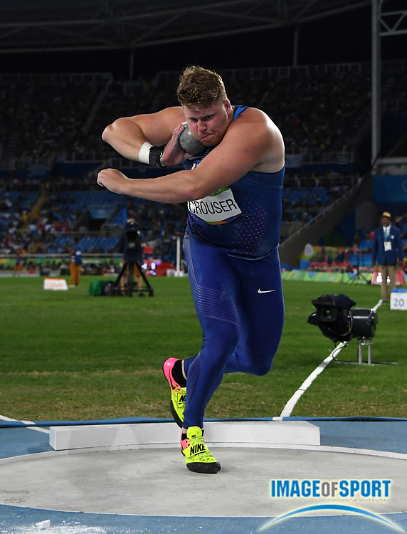 Aug 18, 2016; Rio de Janeiro, Brazil; Ryan Crouser (USA) wins the shot put in an Olympic record 73-10¾ (22.52m) during the 2016 Rio Olympics at Estadio Olimpico Joao Havelange.