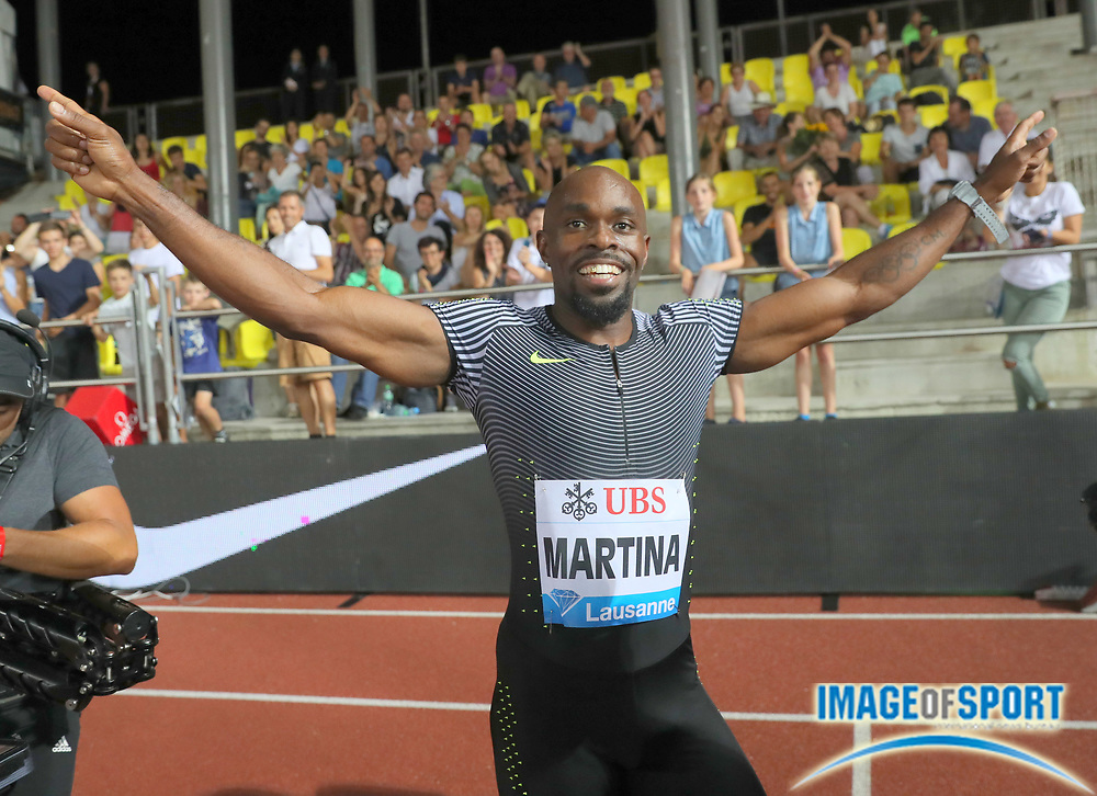 Aug 25, 2016; Lausanne, Switzerland; Churandy Martina (NED) celebrates after winning the 200m in 19.81 during the 2016 Athletissima in an IAAF Diamond League meeting at Stade Olympique de la Pontaise. Photo by Jiro Mochizuki