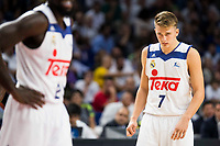 Real Madrid's player Othello Hunter and Luka Doncic during match of Liga Endesa at Barclaycard Center in Madrid. September 30, Spain. 2016. (ALTERPHOTOS/BorjaB.Hojas)