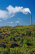 Smoke stacks of the Nickel Mining operation with reclaimed land <br /> Sudbury<br /> Ontario<br /> Canada