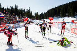 BAUER Klemen of Slovenia in finish line during Men 12.5 km Pursuit competition of the e.on IBU Biathlon World Cup on Saturday, March 8, 2014 in Pokljuka, Slovenia. Photo by Vid Ponikvar / Sportida