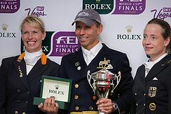 FLTR : Van Grunsven Anky (NED), Peters Steffen (USA), Werth Isabell (GER) <br /> World Cup Final Las Vegas 2009<br /> Photo © Dirk Caremans