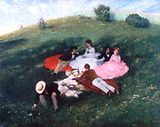 A May Day', 1873. Pal Szinyei Merse (1845-1920) Hungarian painter.  Three men and three women enjoying romantic picnic on grassy hillside meadow on sunny Spring day.