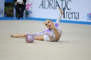 Durunda Marina during final at ball in Pesaro World Cup on April 28, 2013.<br /> Marina is a Azerbaijani individual rhythmic gymnast of Ukrainian origin, she born on June 12, 1997 in Sevastopol.