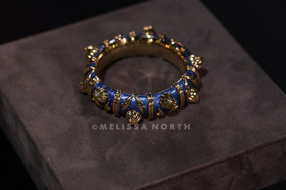 An enamel and 18k gold bracelet by<br /> Jean schlumberger, est £13,000 - 20,000 at a preview of the auction highlights from the Estate of Lauren Bacall, at Bonhams, London, UK on 13th February 2015. The preview of 50 selected lots features works by Henry Moore, David Hockney, Robert Graham, Noel Coward and Jim Dine - and is due to be auctioned at Bonhams New York on 31 March and 1 April 2015.