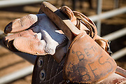 November 2, 2008 -- PHOENIX, AZ: A bareback rider's rigging at the Arizona High School Rodeo at the Arizona State Fair in Phoenix. Teams from across the state participate. The Arizona High School Rodeo Association sponsors a full season of high school rodeo that culminate in a championship rodeo in June.  Photo by Jack Kurtz