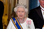 Staatsbezoek van Koning Willem Alexander en Koningin Máxima aan het Verenigd Koninkrijk<br /> <br /> Statevisit of King Willem Alexander and Queen Maxima to the United Kingdom<br /> <br /> Op de foto / On the photo: Koningin Elizabeth / Queen Elizabeth
