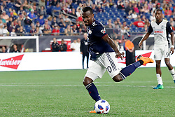 August 11, 2018 - Foxborough, MA, U.S. - FOXBOROUGH, MA - AUGUST 11: New England Revolution forward Cristian Penilla (70) takes a shot during an MLS match between the New England Revolution and the Philadelphia Union on August 11, 2018, at Gillette Stadium in Foxborough, Massachusetts. The Union defeated the Revolution 3-2. (Photo by Fred Kfoury III/Icon Sportswire) (Credit Image: © Fred Kfoury Iii/Icon SMI via ZUMA Press)