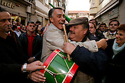 During campaign in the northern town of Vila Real a group of typical drummers welcome Cavaco Silva.