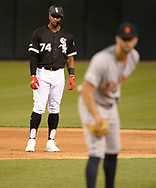CHICAGO - APRIL 26:  Eloy Jimenez #74 of the Chicago White Sox leads off second base against the Detroit Tigers on April 26, 2019 at Guaranteed Rate Field in Chicago, Illinois.  (Photo by Ron Vesely)  Subject:   Eloy Jimenez