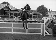"07/08/1980<br /> 08/07/1980<br /> 07 August 1980<br /> R.D.S. Horse Show: John Player Top Score Competition, Ballsbridge, Dublin. Kevin Bacon (Australia) on ""Jerome""."