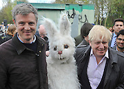 © Licensed to London News Pictures. 27/04/2013. London, UK MP Zac Goldsmith (Left) and Boris Johnson (right). A rally against Heathrow expansion takes place today 27th April on Barn Elms Playing Field in Barns, West London.  The rally organised by MP Zac Goldsmith included Mayor of London, Boris Johnson, Cabinet Minister Justine Greening, and many other MPs, MEPs, Council Leaders, and campaigners as speakers. Photo credit : Stephen Simpson/LNP