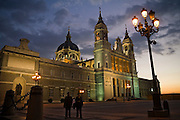 The exterior of Catedral de Nuestra Senora de la Almudena at dusk, Madrid, Spain.