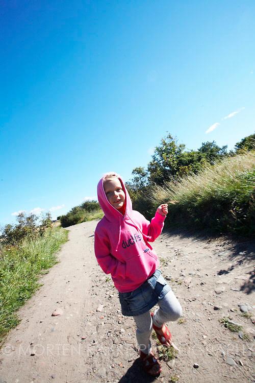 Girl laughing, walking, running