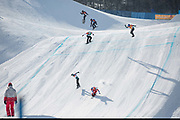 Pierre Vaultier, France and Jarryd Hughes, Australia, go head to head during the mens boardercross finals at the Pyeongchang Winter Olympics on 15th February 2018 at Phoenix Snow Park in South Korea