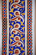 Berber Arabesque painted Morabe platerwork architectural details from the Petite Court, Bahia Palace, Marrakesh, Morroco .<br /> <br /> Visit our MOROCCO HISTORIC PLAXES PHOTO COLLECTIONS for more   photos  to download or buy as prints https://funkystock.photoshelter.com/gallery-collection/Morocco-Pictures-Photos-and-Images/C0000ds6t1_cvhPo<br /> .<br /> <br /> Visit our ISLAMIC HISTORICAL PLACES PHOTO COLLECTIONS for more photos to download or buy as wall art prints https://funkystock.photoshelter.com/gallery-collection/Islam-Islamic-Historic-Places-Architecture-Pictures-Images-of/C0000n7SGOHt9XWI