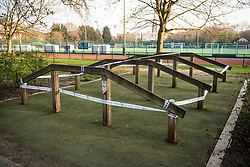 © Licensed to London News Pictures. 28/03/2020. London, UK. Exercise equipment cordoned off to prevent it being used at Paddington Recreation Ground inLondon, during a lockdown over the spread of COVID-19. Prime Minister Boris Johnson has announced that people should only leave their homes for essential work, groceries, medical necessity and exercise. Photo credit: Ben Cawthra/LNP