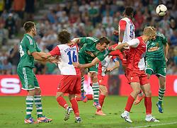 09.08.2012, Gerhard Hanappi Stadion, Wien, AUT, UEFA EL, Rueckspiel, SK Rapid Wien (AUT) vs FK Vojvodina Novi Sad (SRB), im Bild Strafraumszene, Markus Katzer (SK Rapid Wien, #14), Mario Sonnleitner (SK Rapid Wien, #6), Miroslav Stevanovic (FK Vojvodina Novi Sad, #16), Aboubakaru Oumaru (FK Vojvodina Novi Sad, #14)  // during the UEFA Europa League 2nd Leg Match between SK Rapid Wien (AUT) and FK Vojvodina Novi Sad (SRB) at the Gerhard Hanappi Stadion, Vienna, Austria on 2012/08/09. EXPA Pictures © 2012, PhotoCredit: EXPA/ Gerald Dvorak