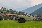 Agricultural sheds on the mountain side. Photographed in Stubai Valley, Tyrol, Austria