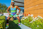 Mr Motivator (Mow-tivator) on the Bosch stand.