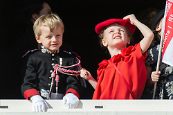 Prince Jacques and Princess Gabriella of Monaco is attending on the balcony during the National Day ceremonies, Monaco Ville (Principality of Monaco), on November 19th, 2019. Photo by Marco Piovanotto/ABACAPRESS.COM