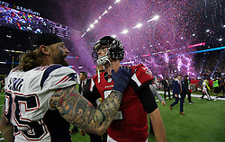 Atlanta Falcons quarterback Matt Ryan Photo by 2) hugs New England Patriots defensive end Chris Long as he leaves the field at the end of the game as the Atlanta Falcons meet the New England Patriots in Super Bowl LI on Sunday, February 5, 2017 at NRG Stadium in Houston, TX, USA. The Patriots beat the Falcons in overtime 34-28. Photo by Curtis Compton/Atlanta Journal-Constitution/TNS/ABACAPRESS.COM