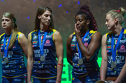 18-05-2019 GER: CEV CL Super Finals Igor Gorgonzola Novara - Imoco Volley Conegliano, Berlin<br /> Igor Gorgonzola Novara take women's title! Novara win 3-1 / Samanta Fabris #13 of Imoco Volley Conegliano, Robin de Kruijf #5 of Imoco Volley Conegliano, Mariam Fatime Sylla #17 of Imoco Volley Conegliano, Joanna Wolosz #14 of Imoco Volley Conegliano