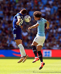 Chelsea's Cesar Azpilicueta (left) and Manchester City's Leroy Sane battle for the ball during the Community Shield match at Wembley Stadium, London.