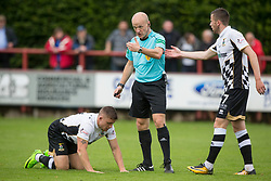 Ref Mat Northcroft with Inverness Caledonian Thistle's John Baird. Brechin City 0 v 4 Inverness Caledonian Thistle, Scottish Championship game played 26/8/2017 at Brechin City's home ground Glebe Park.