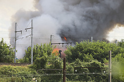 August 1, 2018 - Athis Mons, Essonne, France - Fumee et feu se degageant de l Usine (Credit Image: © Panoramic via ZUMA Press)
