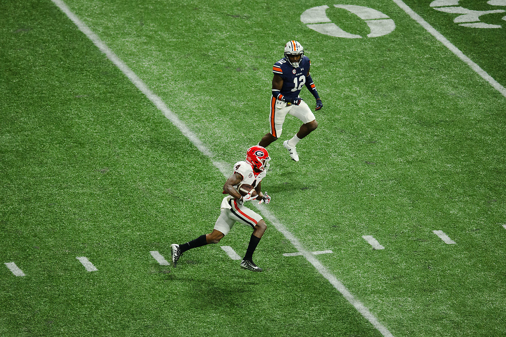 Georgia Bulldogs wide receiver Mecole Hardman (4)<br /> <br /> NCAA College Football: SEC Championship Georgia Bulldogs v Auburn Tigers<br /> SEC Championship UGA Bulldogs v AU Tigers<br /> Mercedes-Benz Stadium/Atlanta, GA, USA<br /> 12/2/2017<br /> X161564 TK1<br /> Credit: Kevin Liles Photographed for Sports Illustrated