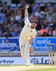 England's James Anderson bowls during day two of the the second Investec Test match at Headingley, Leeds. PRESS ASSOCIATION Photo. Picture date: Saturday August 26, 2017. See PA story CRICKET England. Photo credit should read: Nigel French/PA Wire. RESTRICTIONS: Editorial use only. No commercial use without prior written consent of the ECB. Still image use only. No moving images to emulate broadcast. No removing or obscuring of sponsor logos.
