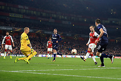2 November 2017 -  UEFA Europa League (Group H) - Arsenal v Red Star Belgrade - Jack Wilshere of Arsenal beats the keeper only to see the ball cleared off the line - Photo: Marc Atkins/Offside
