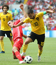 MOSCOW, June 23, 2018  Eden Hazard (R) of Belgium breaks through with the ball during the 2018 FIFA World Cup Group G match between Belgium and Tunisia in Moscow, Russia, June 23, 2018. Belgium won 5-2. (Credit Image: © Wu Zhuang/Xinhua via ZUMA Wire)