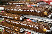 Pile of bags of Bulrush professional decorative bark chips